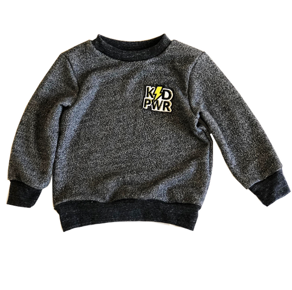 grey sweatshirt hipster patch kid power for toddler girl and boy, kids clothes, girls clothes, sweatshirts for boys and girls