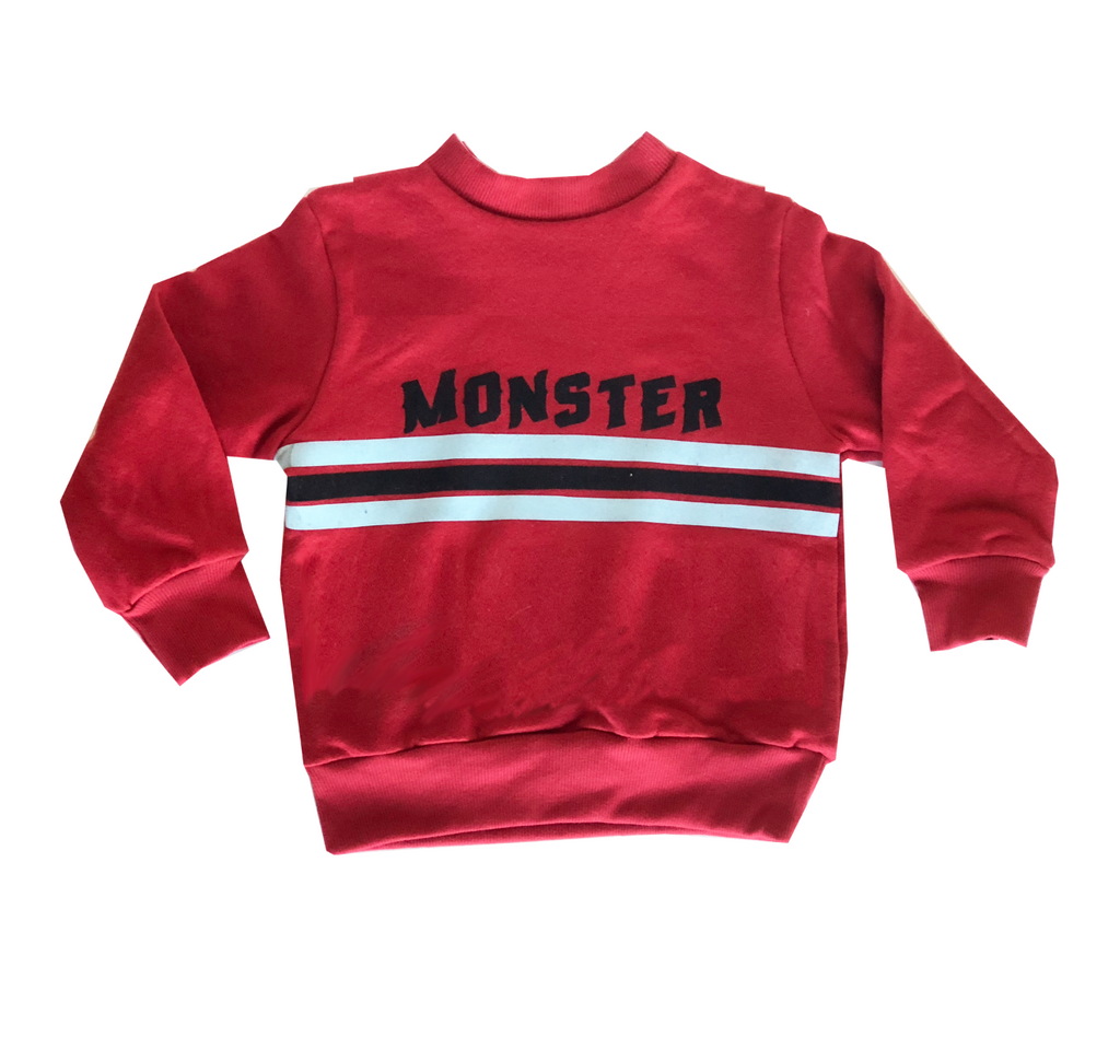 monster graphic stripes stripe sweatshirt cotton kids boys girls clothing