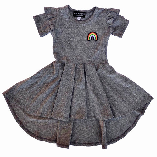 grey rainbow patch circle dress for toddler girl, kids clothes, girls clothes, dresses for girls
