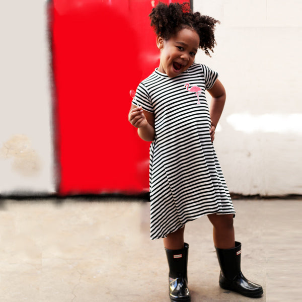 Black & White Stripe Short Sleeve Dress