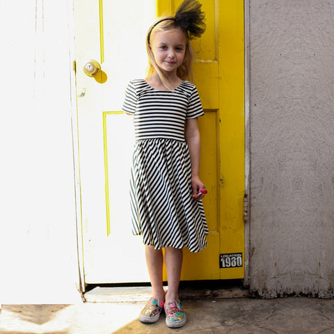 Black & White Stripe Ballet Dress