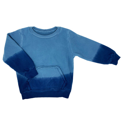 denim blue ombre hand dyed sweatshirt sweater for toddler girl, kids clothes, unisex girls boys clothes, sweatshirts sweaters for girls and girls