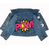denim and jean pow comic book print graphic print jacket kids boys girls