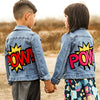 denim and jean jacket kids boys girls POW comic jacket kids boys