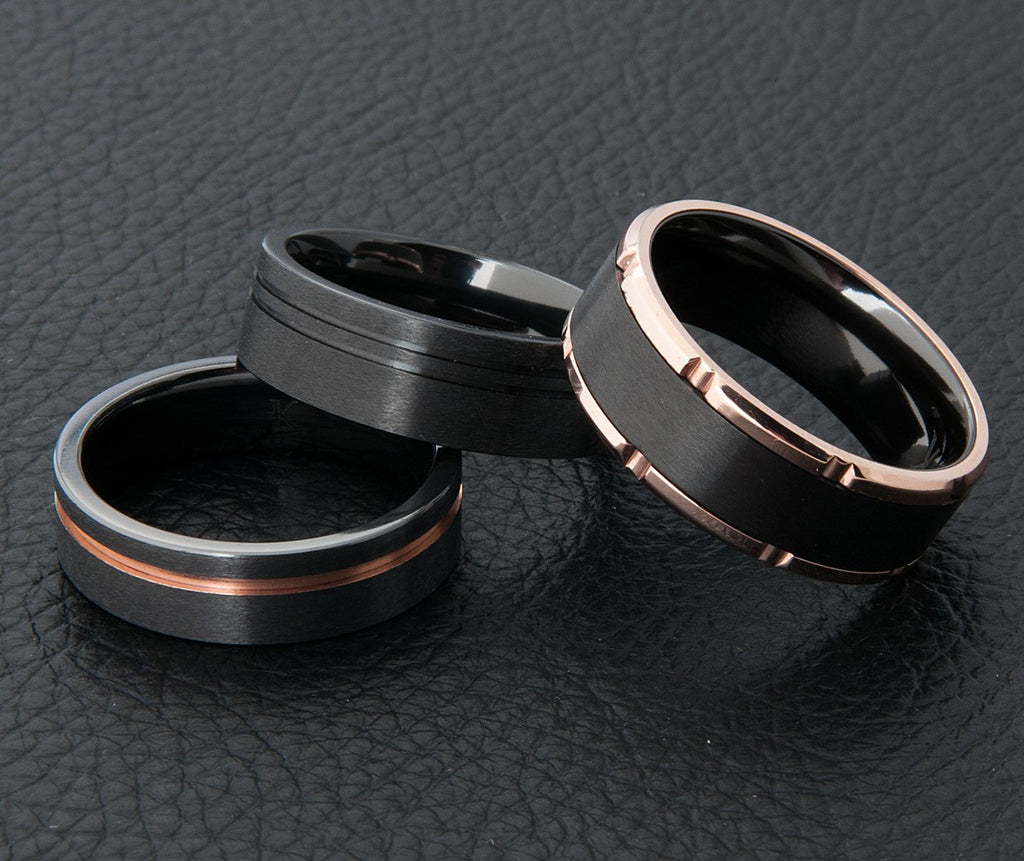 Black Zirconium Wedding Rings