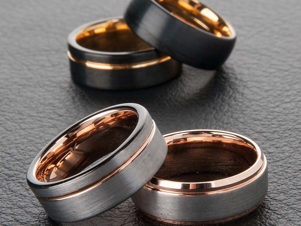 rings tungsten rose gold plated cjtu kavalri wedding ring charcoal products mens and custom