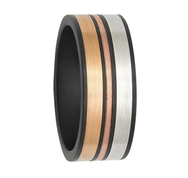 Gold and Black Zirconium Wedding Ring