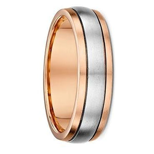 Rose Gold Men's Wedding Ring with White Gold Centre  ( 1543016)