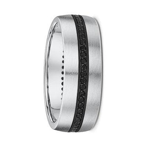 White Gold Mens Wedding Ring With Black Diamonds (178B01)