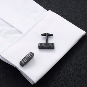 Abstract Rectangular Black Cufflinks