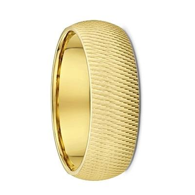 Groove Textured Men's Yellow Gold Wedding Ring  (253A023)