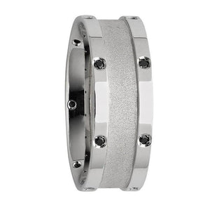 White Gold Mens Wedding Ring With Black Diamonds