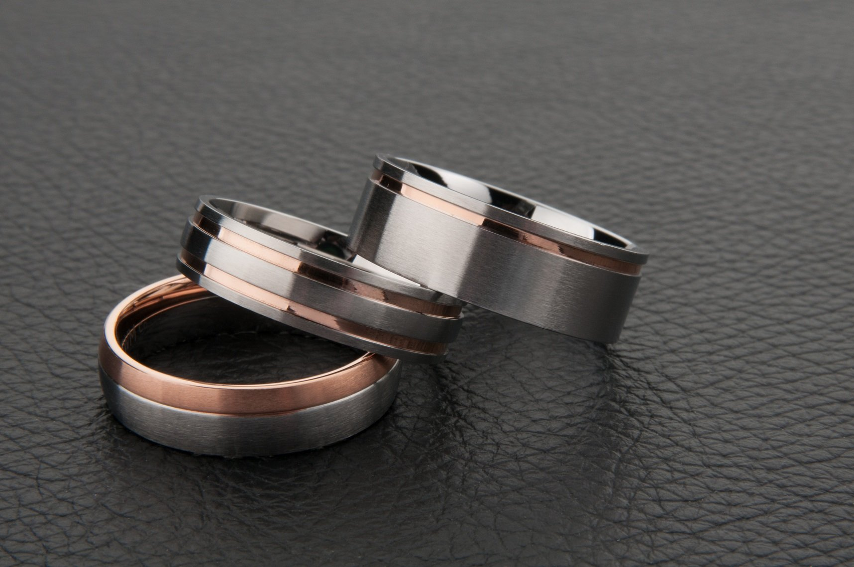 ee8132bf73a68 White Gold with Dual Rose Gold Striped Wedding Ring