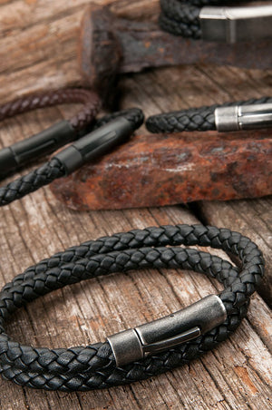 Barrel Double Wrap Black Leather Bracelet - Aged Steel Clasp