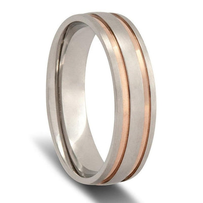 White Gold with Dual Rose Gold Striped Wedding Ring (Deluxe thickness)