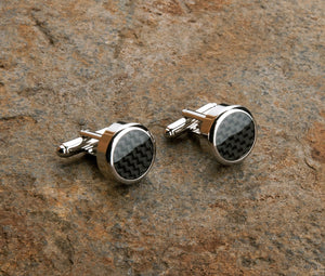 Carbon Fibre Cufflinks - Black