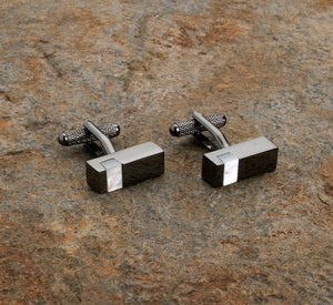Rectangular Black & White Stone Cufflinks