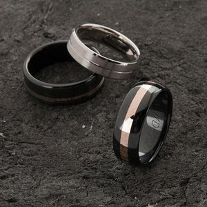 Custom Black Zirconium and Wide Rose Gold Striped Ring