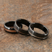 Custom Black Zirconium and White Gold Striped Wedding Ring