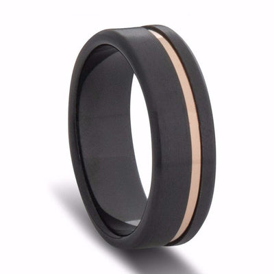 Custom Black Zirconium and Gold Striped Wedding Ring