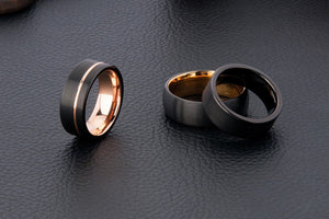 Custom Black and Rose Gold Plated Striped Tungsten Ring