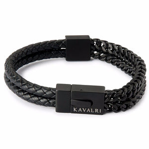 Armour Double Leather & Steel Bracelet - Matte Black
