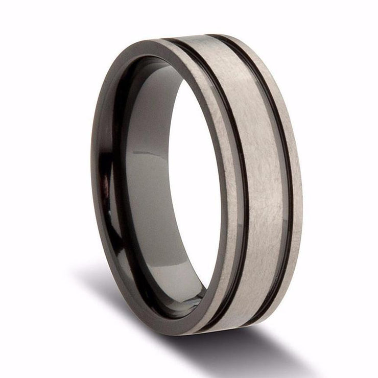 Custom Double Striped Grey and Black Zirconium Wedding Ring