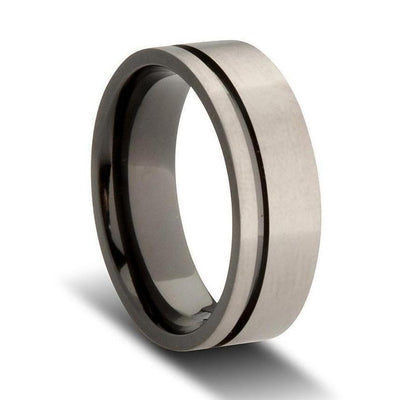 Custom Offset Striped Grey Black Zirconium Wedding Ring