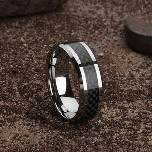 Custom Carbon Fibre Black Weave Tungsten Ring