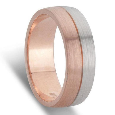 White and Rose Gold Mens Wedding Ring