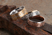 Patterned Rose and White Gold Mens Wedding Ring