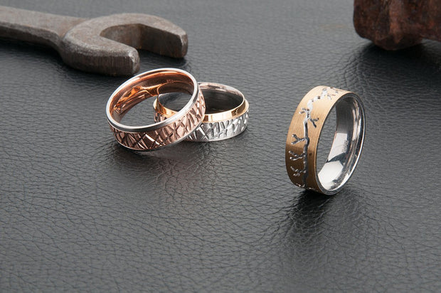 Patterned Yellow and White Gold Mens Wedding Ring