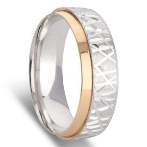 White and Yellow Gold Tapered Edge Mens Wedding Ring