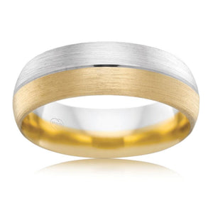 Brushed Two Tone Gold Classic Mens Wedding Ring
