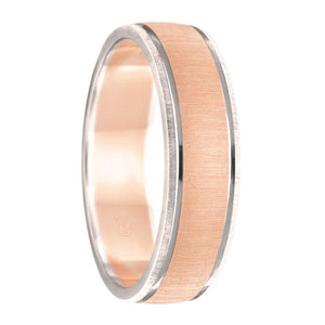 Brushed Rose Gold and Brushed White Gold Edged Wedding Ring