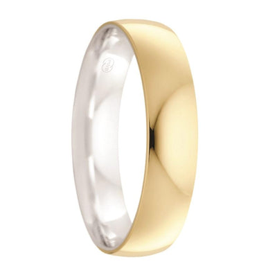 Deluxe Yellow Gold with White Gold Inlay Men's Wedding Ring