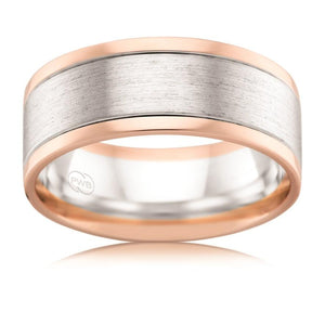Brushed White Gold and Rose Gold Pipecut Wedding Ring