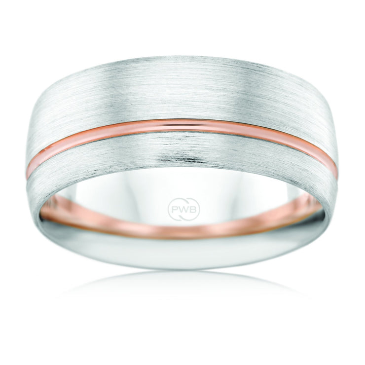 White and Rose Gold Striped Rounded Wedding Ring - 2T4137