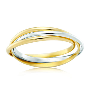 White & Yellow Gold Russian Wedding Ring (527BB)