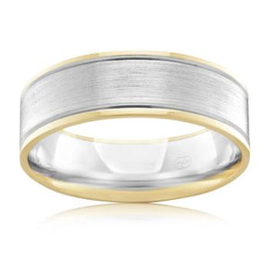 Brushed White Gold and Polished Yellow Gold Edged Wedding Ring 2T3506