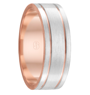 Dual Grooved White Gold Mens Wedding Ring with Rose Gold Inlay (2t3640)