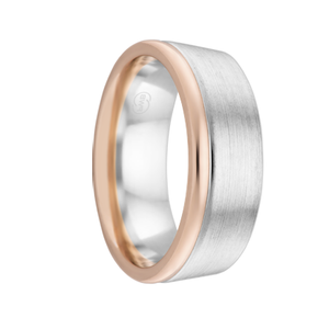 White Gold Men's Wedding Ring with Rose Gold Edging - Extra Deluxe Thickness (3881)