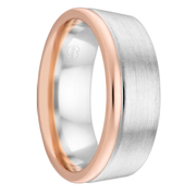 White Gold Men's Wedding Ring with Rose Gold Edging - Extra Deluxe Thickness (2T3881)
