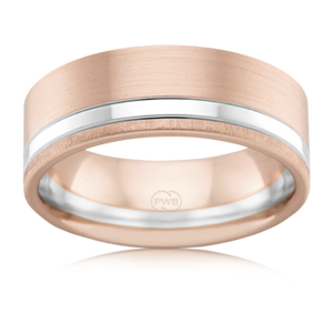 Rose Gold Men's Wedding Ring with White Gold Stripe Inlay (2T3925)