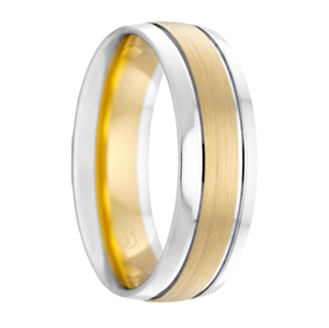 Yellow and White Gold Dual Grooved Wedding Ring - 2T4032
