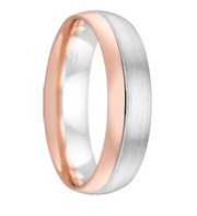 White and Rose Gold Two Tone Men's Wedding Ring