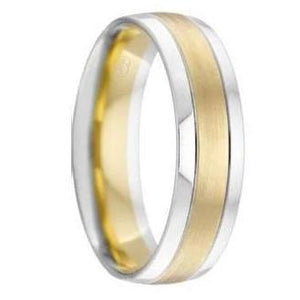 Yellow and White Gold Rounded Wedding Ring - 2T4285
