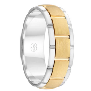 White and Yellow Gold Grooved Men's Wedding Ring  (KA2721)