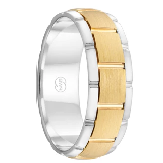 White and Yellow Gold Grooved Men's Wedding Ring  (2TJ2712)