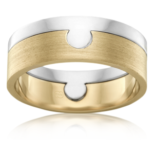 Men's White and Yellow Gold Puzzle Wedding Ring - 8mm Width (2TJ3619)